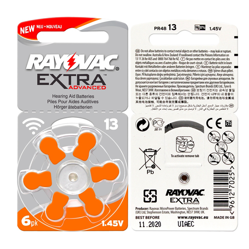 60 PCS RAYOVAC EXTRA Zinc Air Performance Hearing Aid Batteries A13 13A 13 P13 PR48 Hearing Aid Battery A13 Free Shipping стоимость