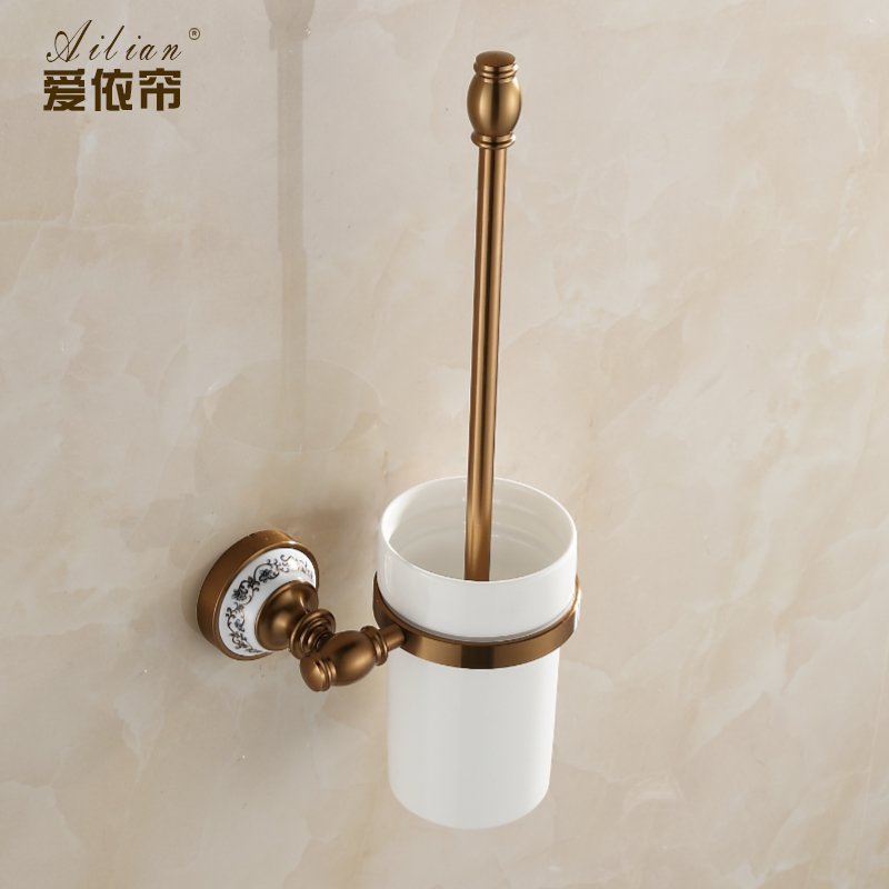 все цены на Space Aluminum Toilet Brush Holders Luxury Antique Bronze Ceramic Base Finish With Ceramic Cup Household Bathroom Accessories онлайн