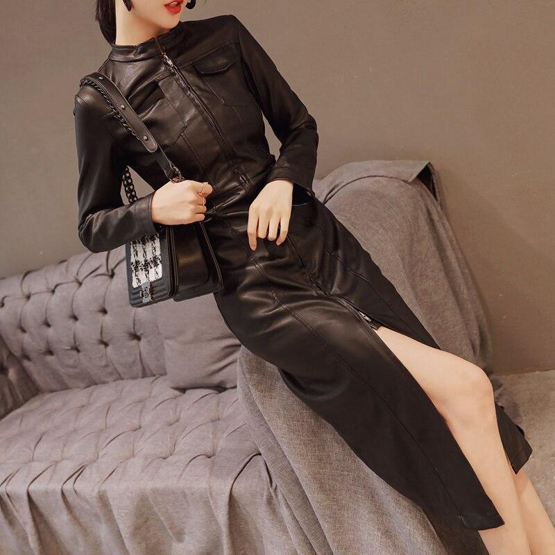 Printemps Moulante Nouveau Montant Cuir Hanche Col Bureau Fête Noir Sexy Paquet Black 2018 Pu Femmes Robes Robe Lw174 Slim Longue qXACOwxO