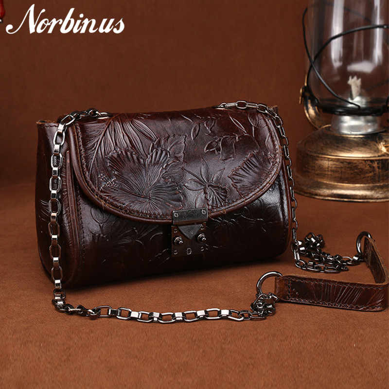 4366cb91f295 Norbinus Роскошные Сумки Для женщин сумки дизайнер из натуральной кожи  небольшая сумка на плечо Винтаж тиснением