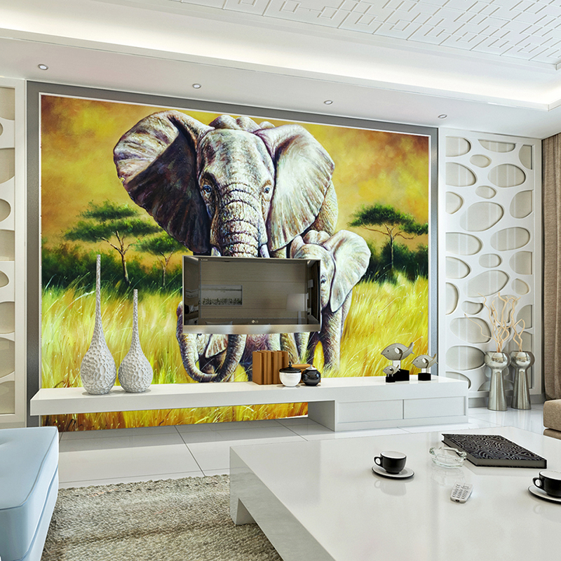 3D Lifelike Animal Mural Elephants Customized Rhino/Lion/Elephant Non-Woven paper Wall Mural New Photo Wallpaper Hoom Decor