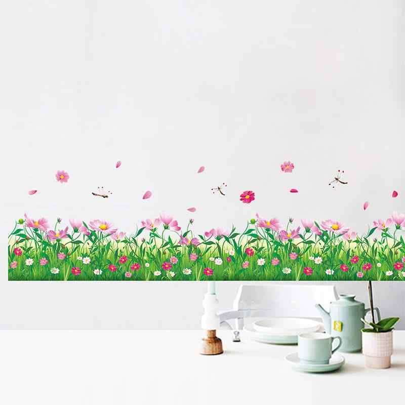 Colorful Flower Wall Stickers Home Decor Nature Grass Dragonfly Decorations Decor Wall Art Living Ro