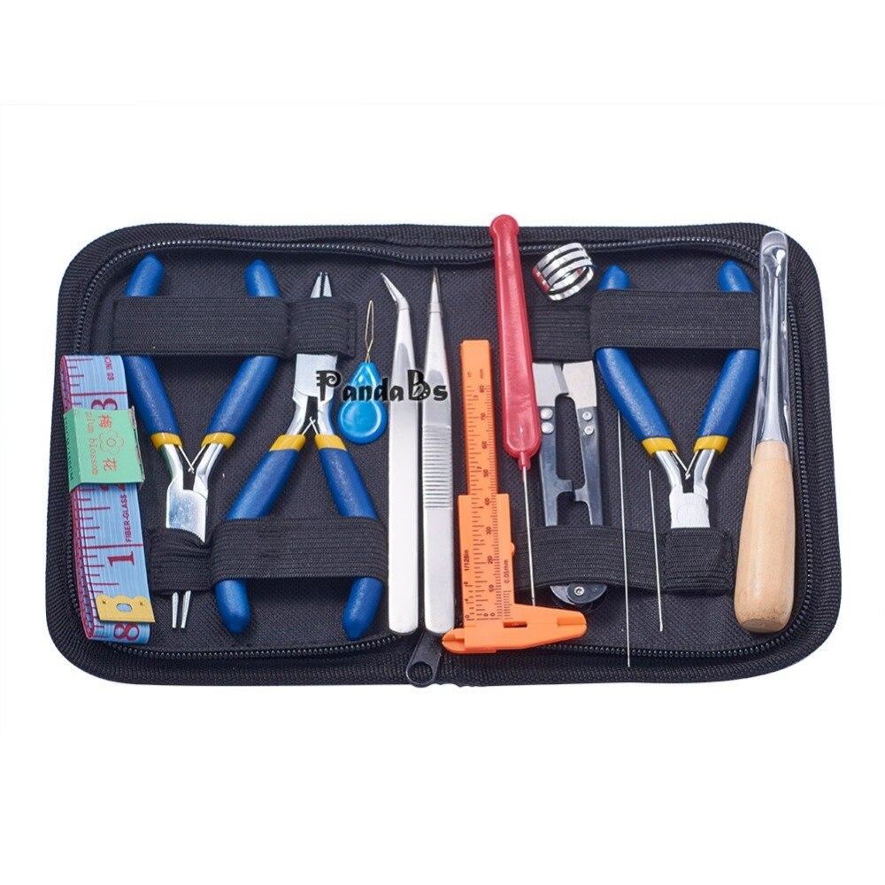14 Pz FAI DA TE Gioielli Pinze Repair Tool Set, con le Pinze, Scissor, pinzette, Vernier Caliper, Misura di nastro e Pins, Colore misto
