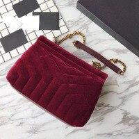 Для женщин бархатной сумки наивысшего качества роскошные сумки Chevron дизайнерские сумки известного бренда Малый loulou цепи Crossbody сумки