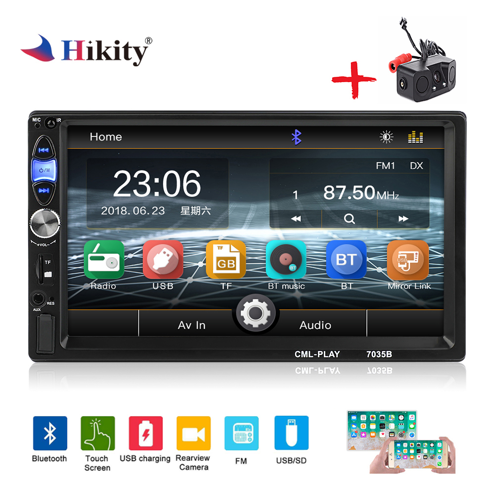 Hikity 2 din Car Radio 7 Inch Touch Screen Car Multimedia MP5 Player Bluetooth handsfree FM