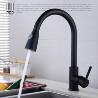 HPB Pull Out Black Kitchen Faucet Sink Mixer Swivel Spout Tap Single Handle Hot And Cold