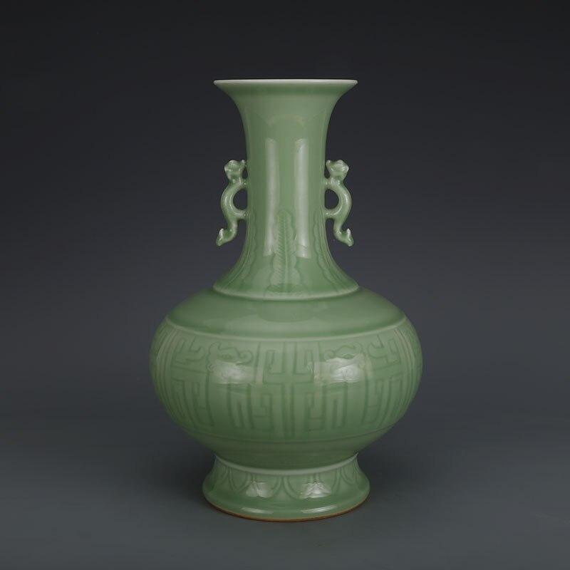 Античные Старые Китайский Фарфоровая ваза, зеленый Резьба Дракон бутылка, с отметкой, украшения дома, коллекция и украшения, Бесплатная дос