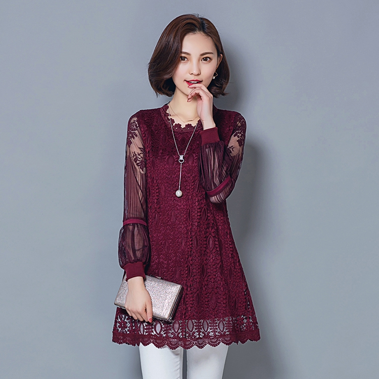 New Women Spring Autumn Casual Basic Lace Chiffon Blouse Hollow out Long sleeves Embroidery Top Shirt Solid Plus Size M~5XL