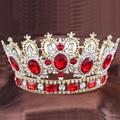Cristais vermelhos ouro-banhado Grande Coroa Tiara de Strass coroa de noiva Tiaras De Casamento Nupcial Jóias Acessórios de Cabelo