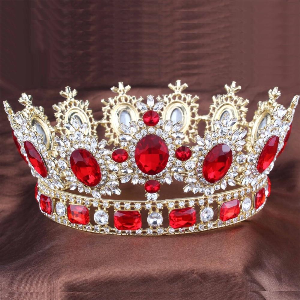 Aliexpress Com Buy Red Crystals Gold Color Big Tiara