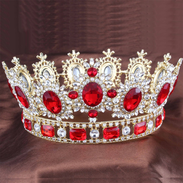 Red Crystals gold - color Big Tiara Crown Rhinestone bridal crown Headbands  Wedding Bridal Hair Jewelry Accessories ee5f57a24f43