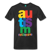 100 Cotton Fashion T Shirts Crew Neck Short-Sleeve Fashion 2017 Mens Autism Awareness Puzzle Tees