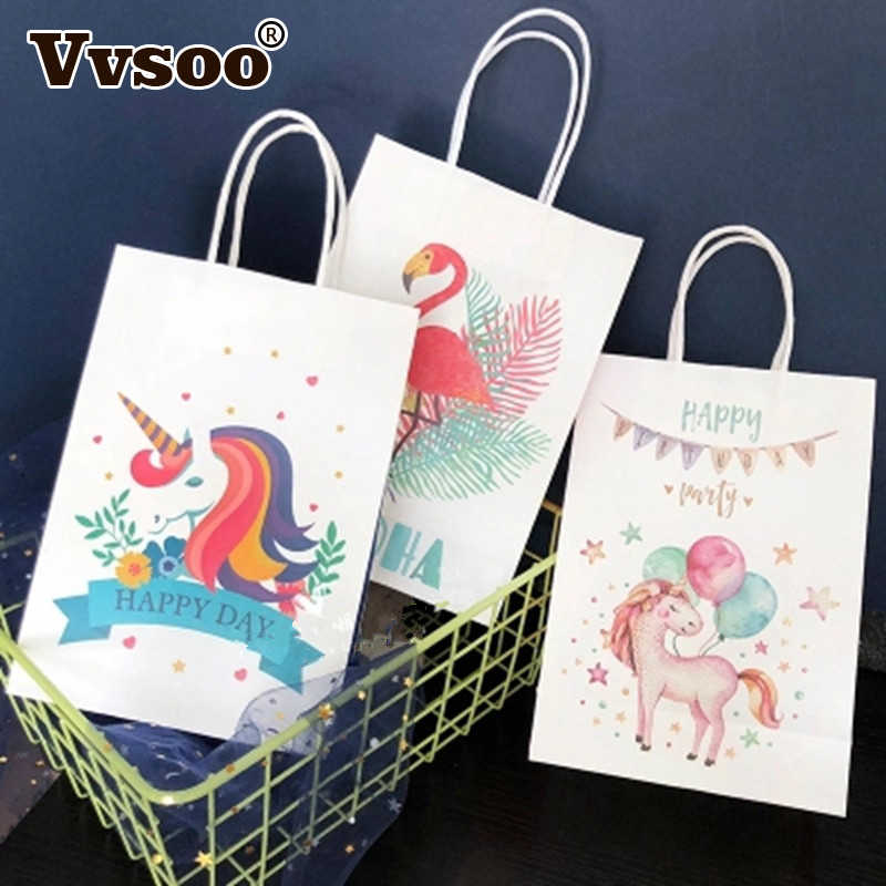 6pcs Unicorn Paper Gift Bag Packaging Birthday Party Decorations Kids Unicorn Candy Bag With Handle Unicorn Party Decoration