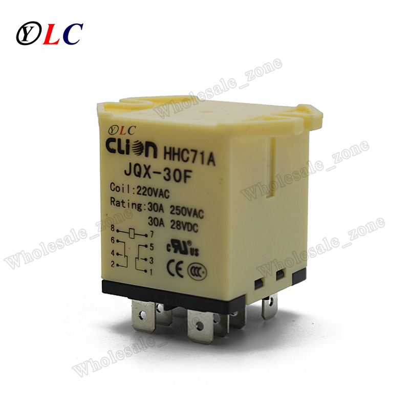 JQX-30F 30A Power Relay 220V AC 8-Pin Plug In Type Motor Control,High Power free shipping elecall 10pcs lot jqx 15f 1z dc48v miniature electromagnetic relay no 30a nc 20a 240vdc 28vdc 48vdc power relay