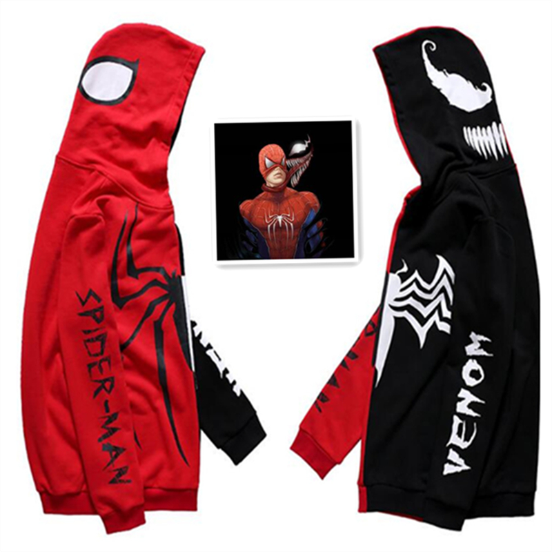 Hot New Spider-Man Venom Hoodies Sweatshirts Autumn Winter Hooded Assorted Colors Fleece Film Coat