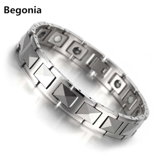 Begonia Fashion Silver ceramic bracelets stainless steel hard metal bio magnetic bracelets for mens Jewelry