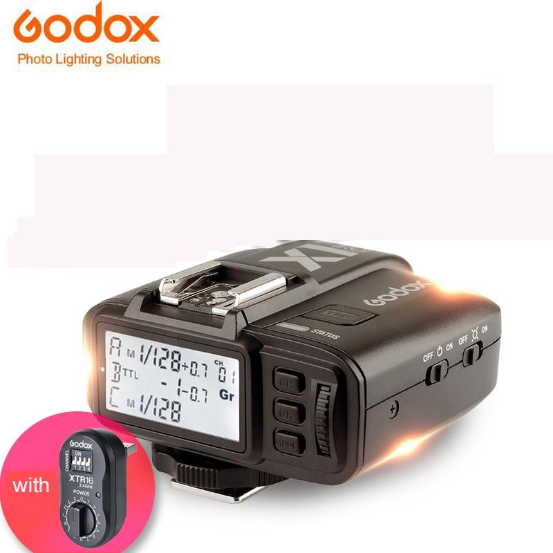 Godox X1t X1t-c x1t-s Trigger Transmitter with Xtr16 Receiver for Canon TTL 2.4 G Wireless For Sony Fujifilm Nikon godox ad600b ttl 600ws hss gn87 outdoor flash 8700mah battery godox x1t c x1t n x1t s trigger transmitter for canon nikon sony