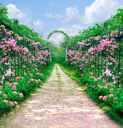 garden arch road flower background highgrade vinyl cloth computer printed garden backdrop