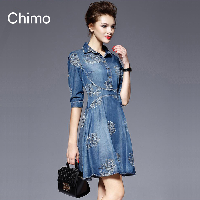 2017 Denim Dress Women Plus Size Half Sleeve Summer Dress Blue Denim