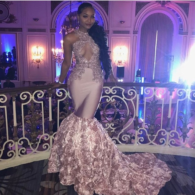 Sexy Black Girls Mermaid High Neck Dusty Pink Prom Dresses 2019 Cut-out Top Beaded Sequined Long Formal Evening Party Gowns