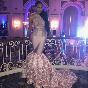 Image 1 - Sexy Black Girls Mermaid High Neck Dusty Pink Prom Dresses 2020 Cut out Top Beaded Sequined Long Formal Evening Party Gowns