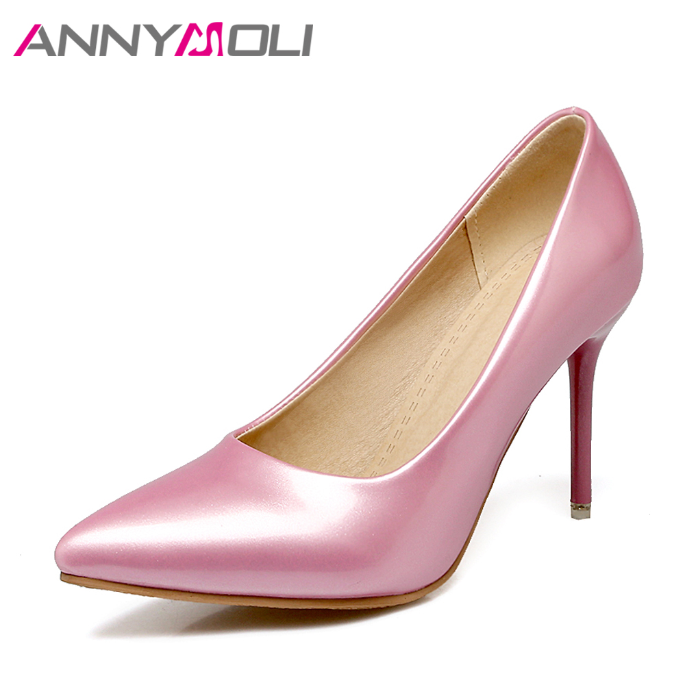 ANNYMOLI Women Shoes Thin High Heels Lady Wedding Shoes Women Elegant Shoes Pink 2018 New Large Size 33-46  Ladies Pumps White lady s pumps high thin heel spike heels mixed colors metal buckle elegant concise women wedding shoes 2015 high heels