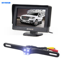 DIYSECUR 4.3 Inch Color TFT LCD Car Monitor + LED Color Night Vision HD Rear View Car Camera Parking Assistance System