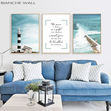 Mountain Lighthouse Sea Wave Landscape Nostalgic Canvas Poster Wall Art Print Scandinavian Painting Picture Home Decoration