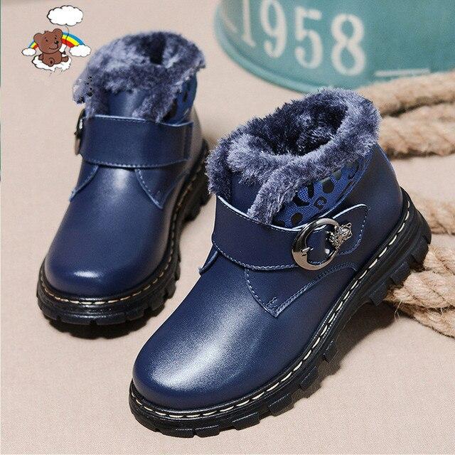 2017 осенью и зимой толстые теплые сто процентов подлинной кожаные мальчики и девочки Мартин сапоги обувь из натуральной кожи мальчик waterpro