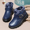 2017 autumn and winter thick warm hundred percent genuine leather boys and girls Martin boots genuine leather shoes boy waterpro