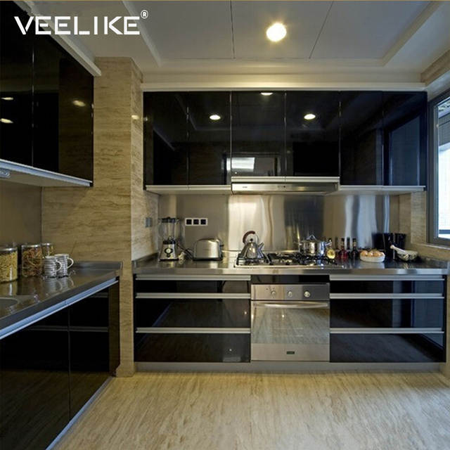 Us 13 21 39 Off Glossy Pvc Vinyl Contact Paper For Kitchen Cabinets Door Cover Stickers Home Decor Waterproof Removable Self Adhesive Wallpaper In