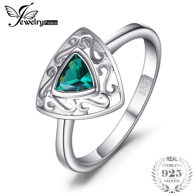 JewelryPalace New 0.4ct Triangle Created Emerald Solitaire Engagement Rings For