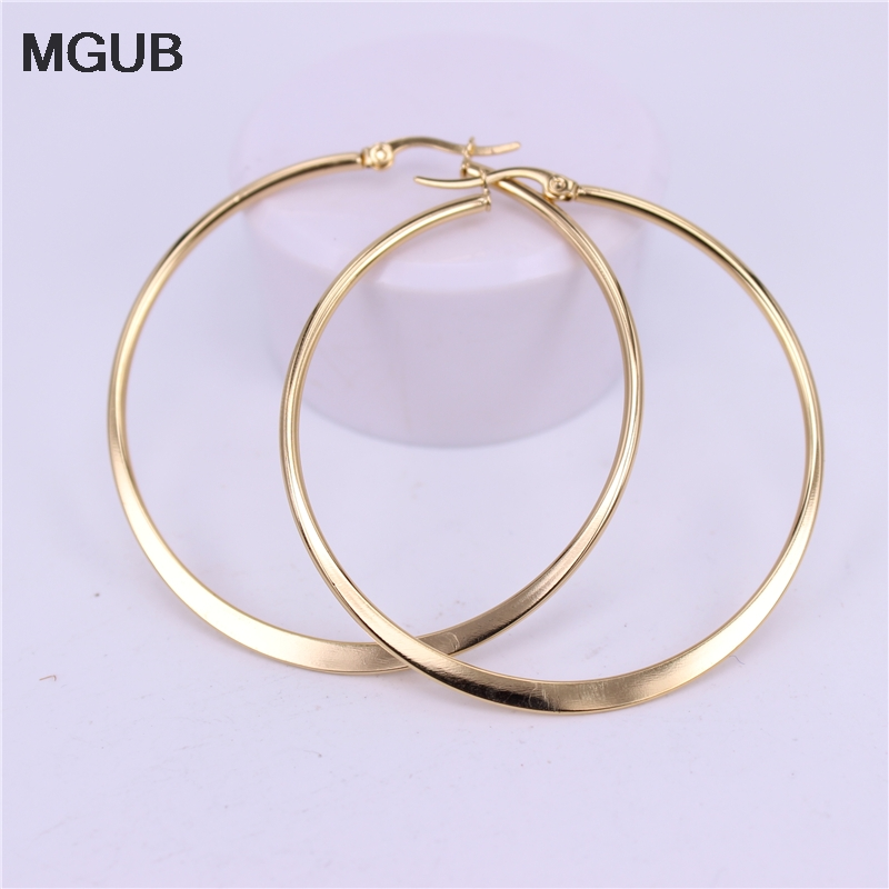 MGUB 15mm 20mm 30mm 40mm 50mm 60mm 70mm Stainless Steel Simple Lightweight Comfortable Popular Female Earrings LH526