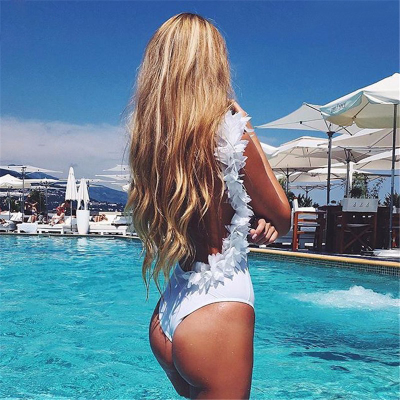 2017 Women Swimwear One Pieces Low Cut Lace Swimsuits High Waisted Bathing Suits Backless Beachwear Maillot De Bain Monokini sexy women swimsuits printing one piece swimwear high cut backless sport bathing suits push up monokini hollow trikini bodysuits