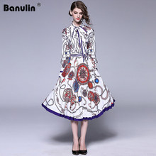 New Arrival 2018 Autumn Womens O Neck Long Sleeves Bow Detailing Floral Printed Striped Pleated Elegant Party Runway Dresses