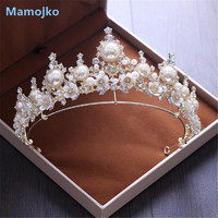 Mamojko New Baroque Handmade Pearl Rhinestone Bridal Tiaras Crowns Flower Pageant Bride Hair Accessories Wedding Diadem Jewelry