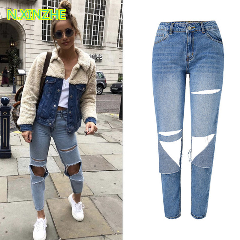 2019 Women Clothing High Waist Hole Solid Washed Denim Capris Straight Pants Female Fashion Streetwear Loose Pure Cotton Jeans