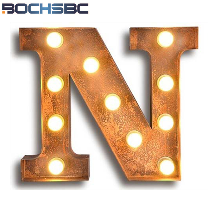 BOCHSBC Metal Art Deco Lamp for Living Room Letters N Wall Lights Vintage Cafe Bar Light American Industrial Sconces Luce a muro