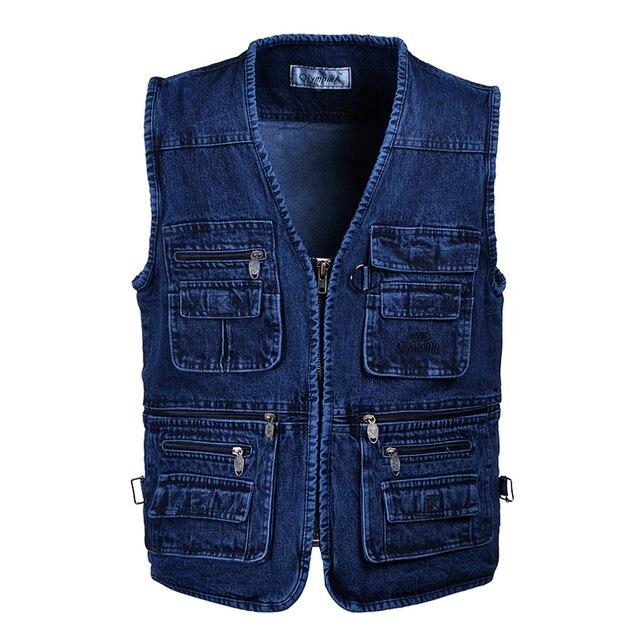 Free shipping Male Denim Vests Men 3XL 4XL 5XL Vest Mens Outdoors Cotton Multi Pocket Sleevless Jean Jacket Men Jeans Masculino