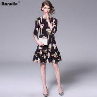 Banulin New Runway Designer Spring Summer Dress Women's Round Neck Ruffles Appliques ice cream Print Elegant Dress Vestido