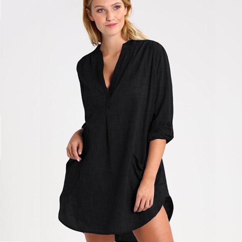 a0b1d7a7138a5 2019 Women Swimsuit Cover Up Beach Dress Cotton Pockets Shirt ...