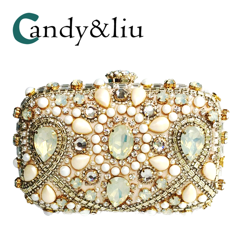 Evening Bags Sparkling Champagne Color Women Crystal Clutch Evening Bag Bridal Diamond Day Clutch Purse Wedding Party Handbag