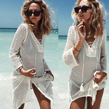 b70339dea5 Bandage Tie Rope Hollow Out Crochet Cover Up Beach Sarong Bathing Suit  Swimsuit Beach Cover Ups Swimwear Women Beach Dress Tunic