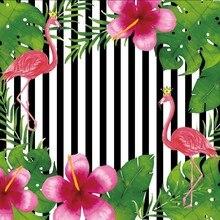 Laeacco Happy Birthday Flamingo Flower Stripe Scene Photography Backgrounds Customized Photographic Backdrops For Photo Studio