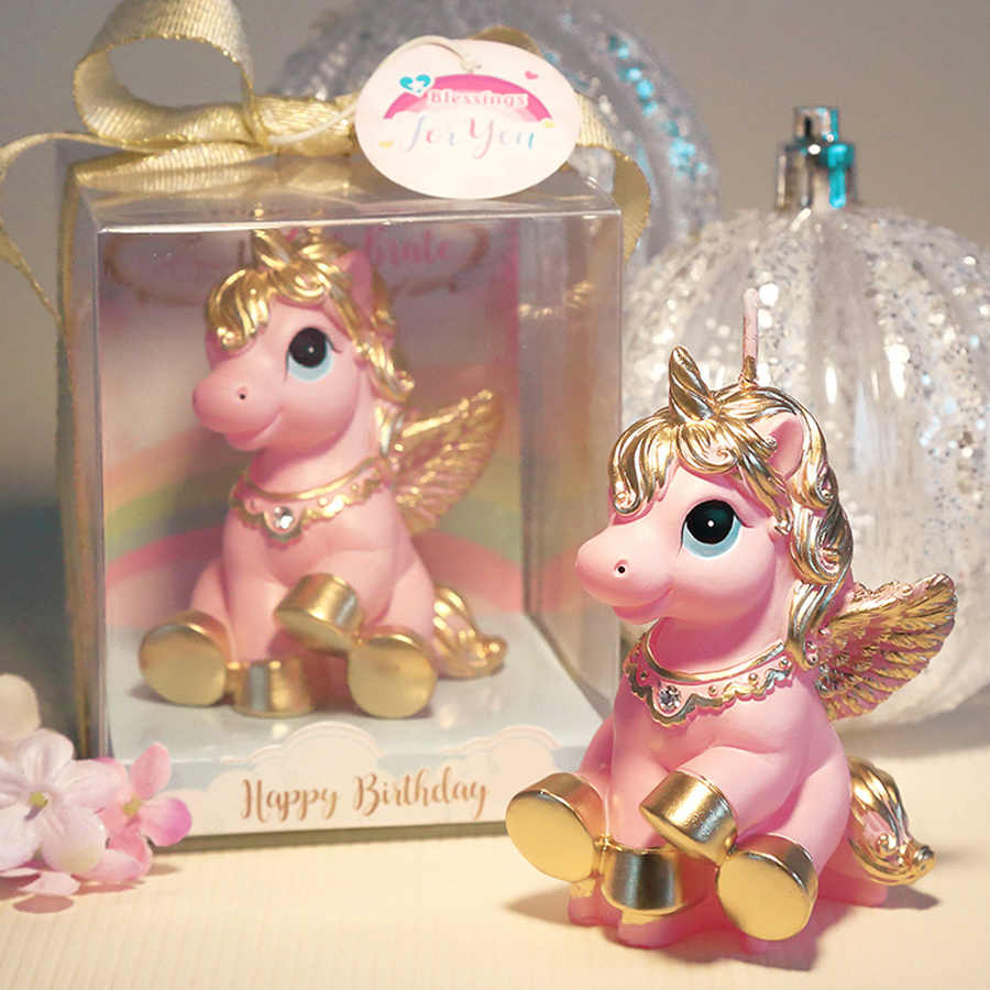 Amazing Mini Unicorn Model Art Cake Candle for Wedding Party Children Baby Birthday Candles Decor Pink Pony Candles Party Gifts