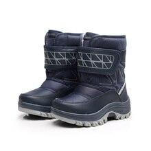 Детская зимняя обувь для Девичьи зимние сапоги дети Обувь для мальчиков модная и теплая обувь ребенка утолщение Водонепроницаемый детская зимняя Сапоги и ботинки для девочек до середины икры