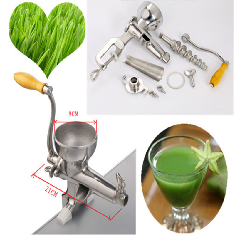 Stainless steel juicer manual hand powered wheat grass juice extractor fruit vegetable squeezer stainless steel hand palm odor remover lasts forever