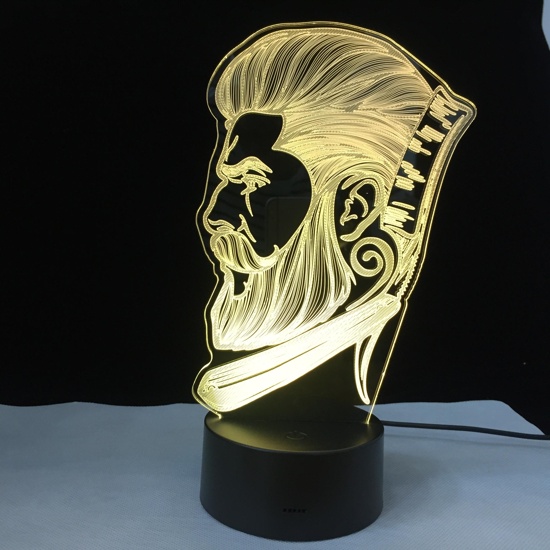 Barber Shop Business 3D LED Night Light Beauty Salon Hairdresser Store Sign Creative Night Lamp Optical illusion Table Light