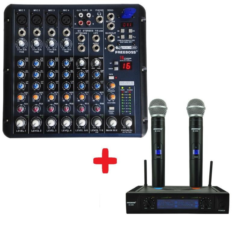 FREEBOSS М-2280 UHF ручной беспроводной микрофон + SMR8 аудиомикшер