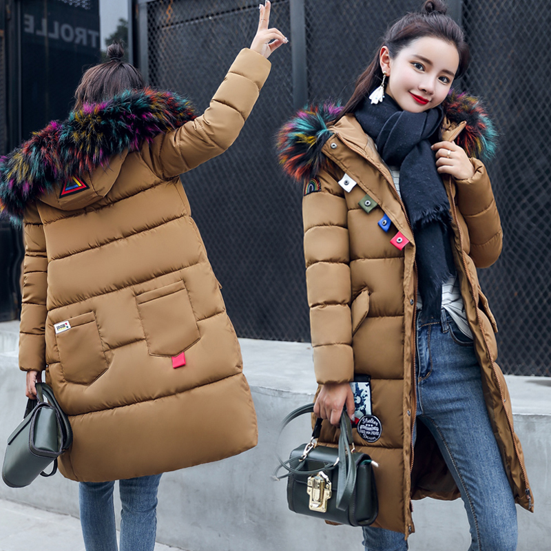 2017 Women Long Parkas Coats Lady Long Hooded Fur Coat Winter Cotton Padded Coat Girl Student All-match Sweet Warm Overcoat new mens warm long coats lady cotton warm jacket padded coat hooded parkas coat winter top quality overcoat green black size 3xl